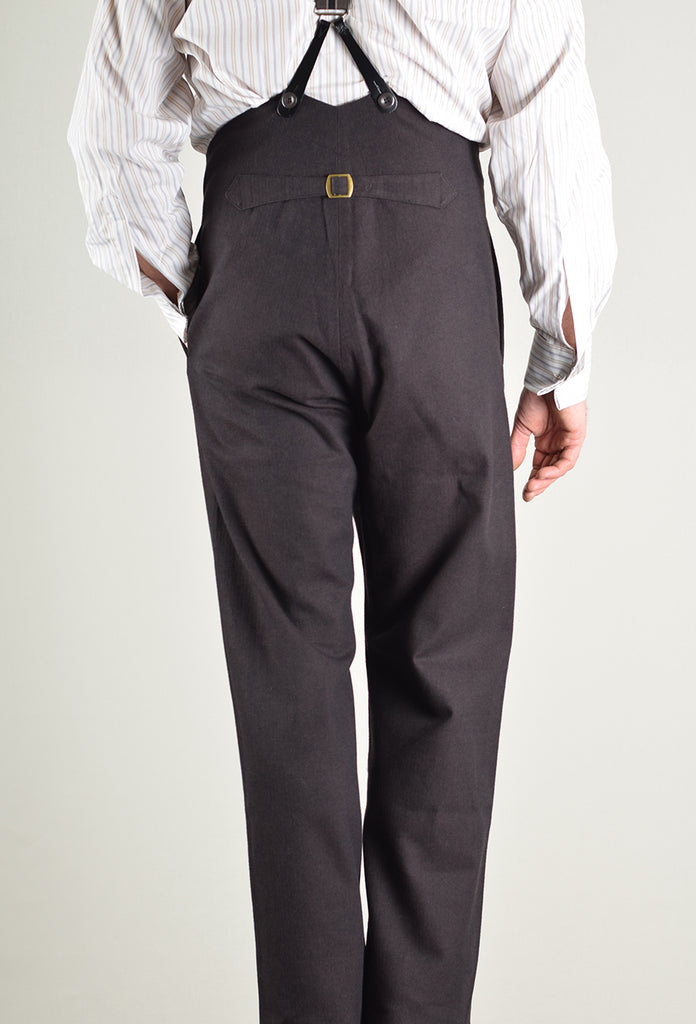 Dark Brown Brushed Cotton Herringbone Fishtail Back Trousers (TR420)