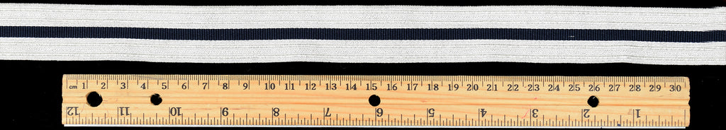 Silver Mylar Military Braid with Navy Stripe (BDS004)
