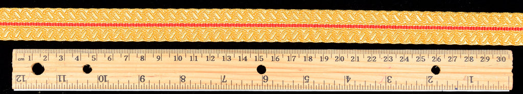 Gold Mylar Braid with Red Stripe 20 mm (BDG009)