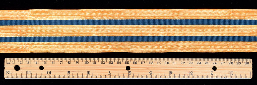 Wide Gold Coloured Military Braid with Navy Stripes  50mm (BDGS015)