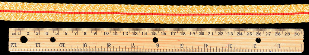 Gold Coloured Braid with Red Stripe 20mm (BDG019)