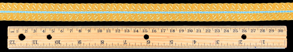 Gold Metallic Military Braid with blue stripe (BDG020)