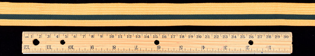 Gold Coloured Ribbed Braid with green Stripe (BDGS022)