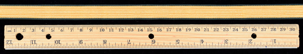 Gold Coloured Braid with Green Border 15mm (BDGS012)