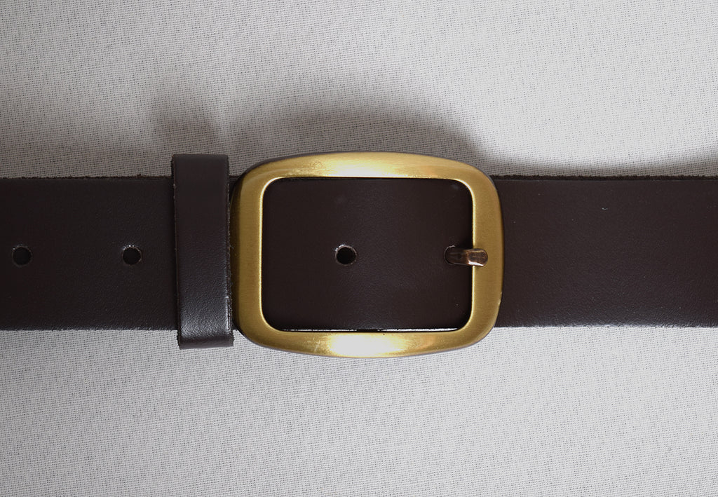 Leather Belts (BR800) - Brown with Bright Brass