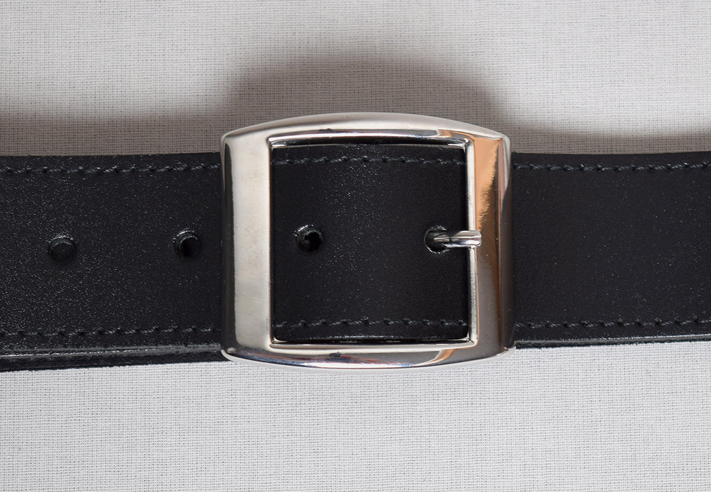 Leather Belts (BR800) - Black with Bright Nickel