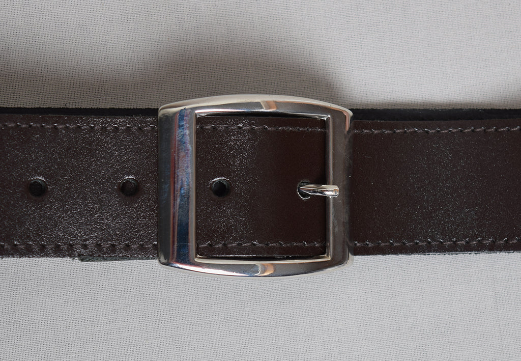 Leather Belts (BR800) - Brown with Bright Nickel