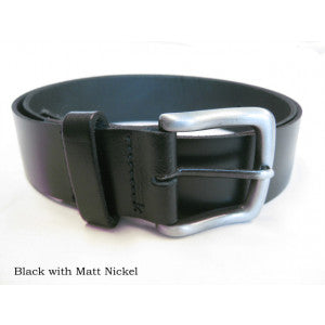 Leather Belts (BR800) - Black with Matt Nickel