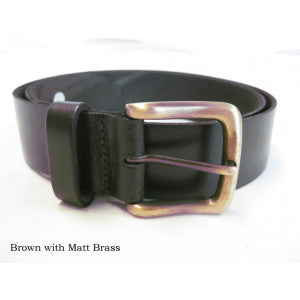 Leather Belts (BR800) - Brown with Matt Brass