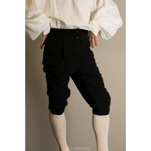 C18th Formal Knee Breeches (TR210) - Black Moleskin
