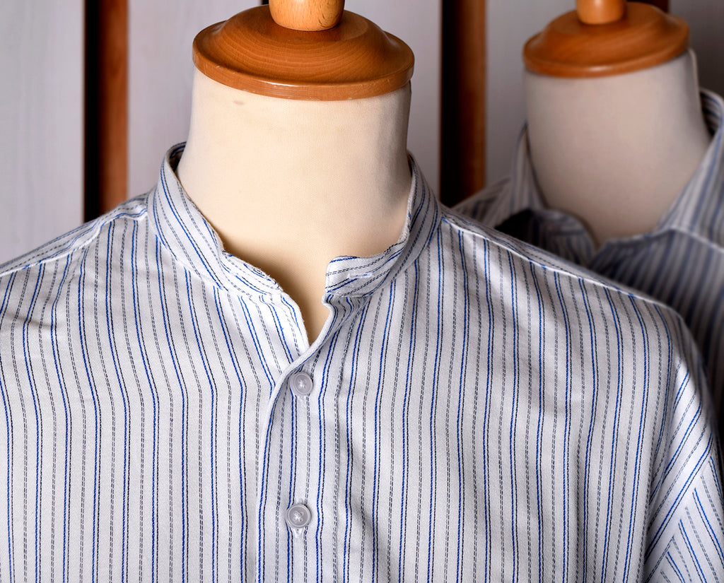 Neckband or Collarless Blue/Black Striped Workshirt (SH220NBB)