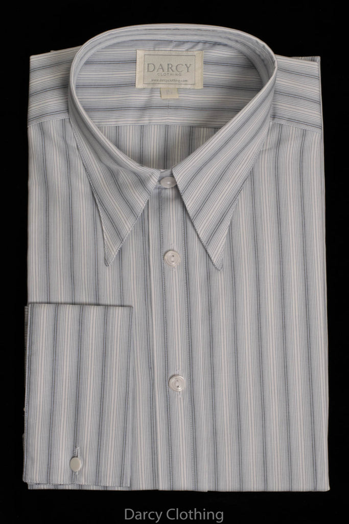 Replica Striped Fabric Spearpoint Collar Shirt | Permanent Stock (SH190R) - Colour 99 - Duck Egg Blue Stripe