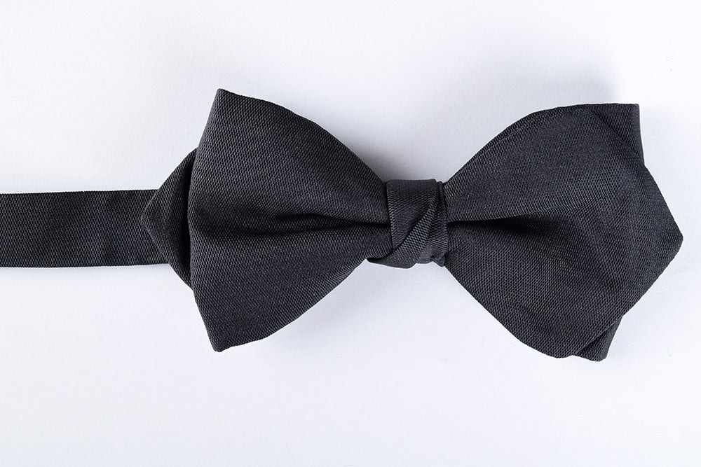 Black Silk Barathea Pointed End Bow Tie - Ready Tied (CR545BR)
