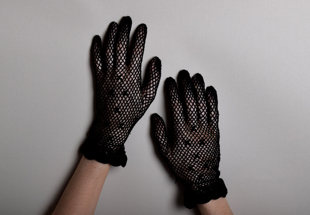 Cotton Crochet Ladies Gloves (GL650) - Black