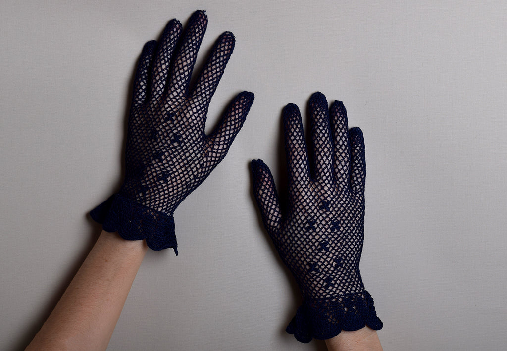 Cotton Crochet Ladies Gloves (GL650) - Navy