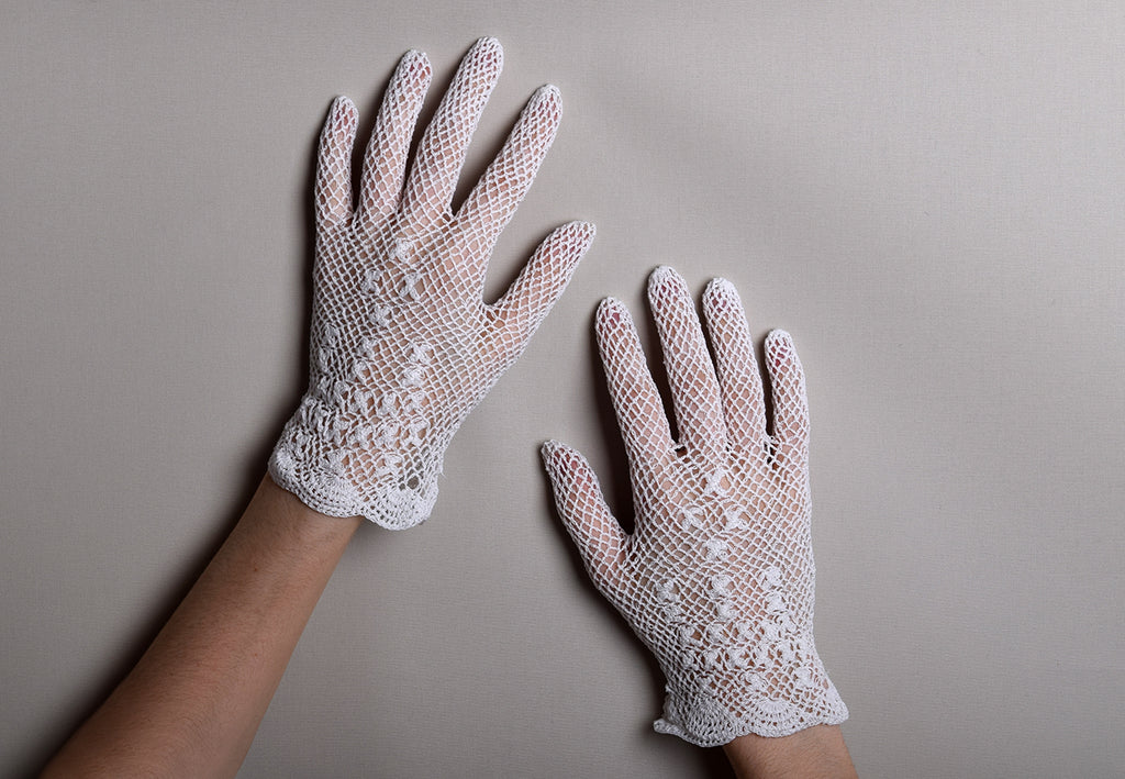 Cotton Crochet Ladies Gloves (GL650) - White