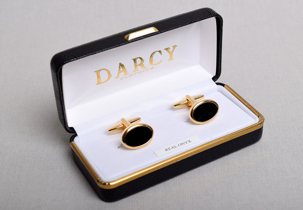 Gilt and Silver Cuff Links (ST915) - Black Onyx/Gilt - Oval