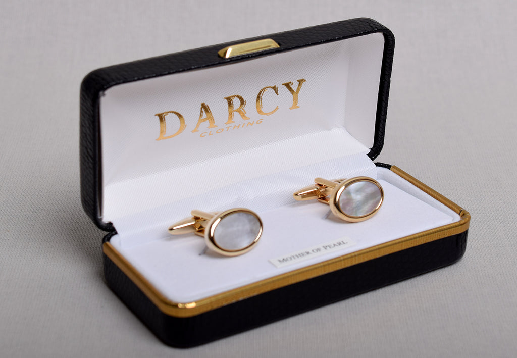Gilt and Silver Cuff Links (ST915) - Gilt/Mother of Pearl - Oval