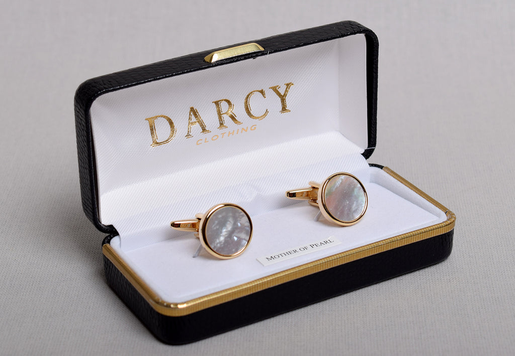 Gilt and Silver Cuff Links (ST915) - Gilt/ Mother of Pearl - Round
