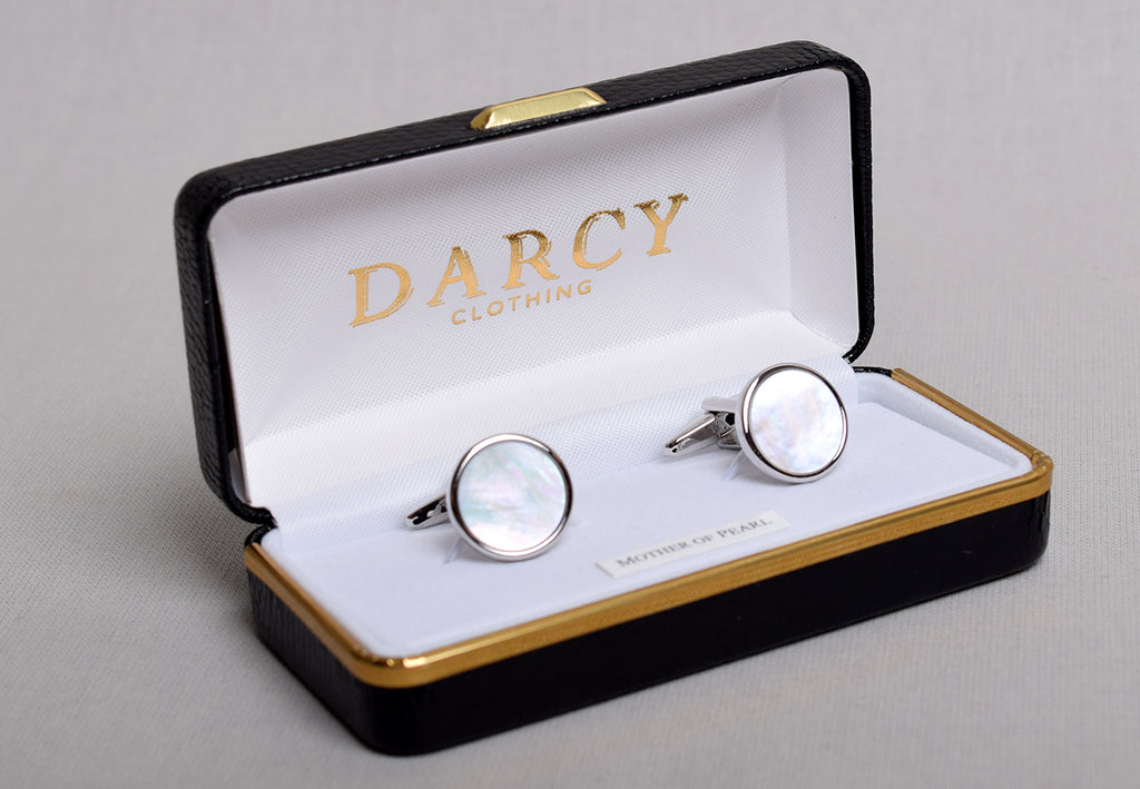 Gilt and Silver Cuff Links (ST915) - Silver/Mother of Pearl - Round