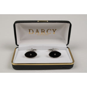 Art Deco Style Cuff Links (ST910) - Black / Diamante