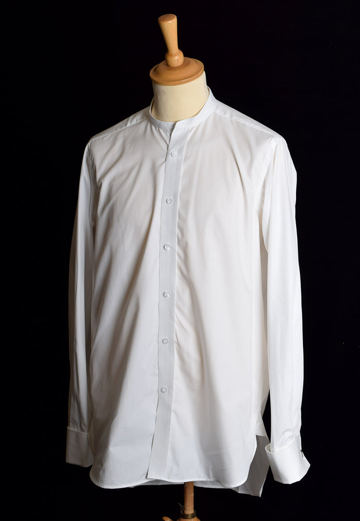 Reduced Collarless White Poplin Tunic Shirt (SH200) - Double Cuff - 17""