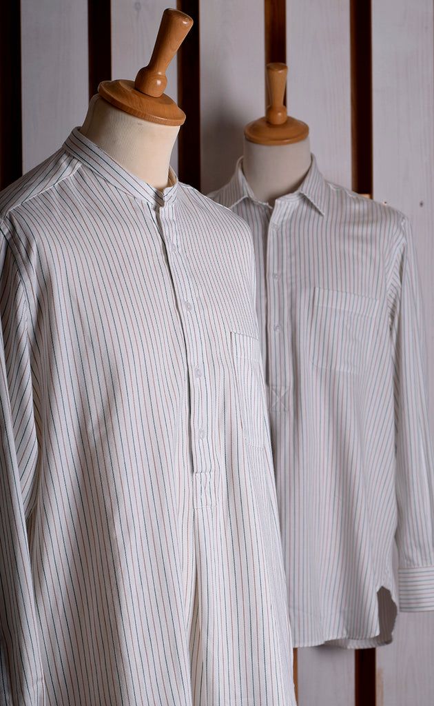 Collar Attached Green Brown Striped Workshirt (SH220CA)