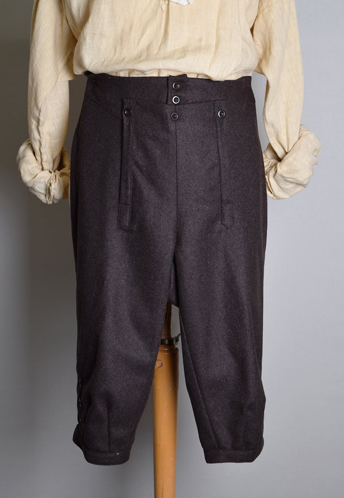 C18th Informal Breeches (TR211) - Brown Wool