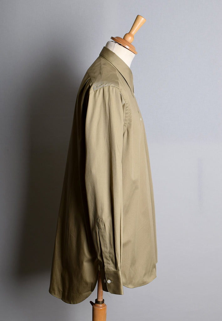 Khaki Military Spearpoint Collar Attached Shirts (SH193)