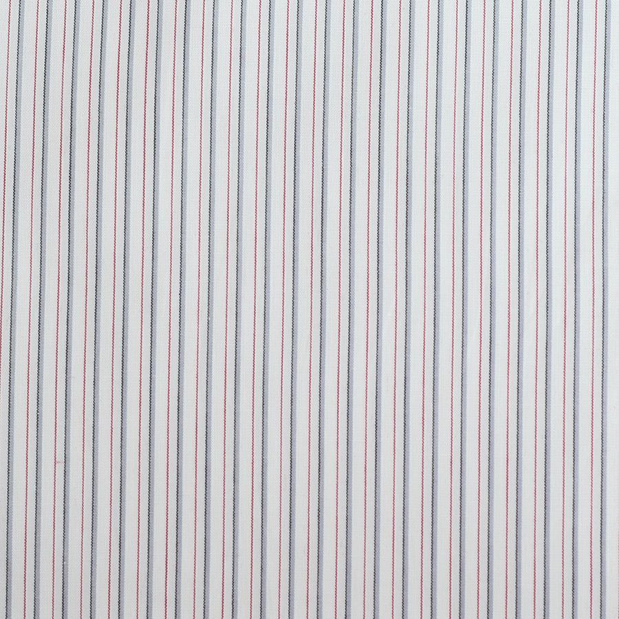 Burgundy & Grey Stripe Cotton Poplin (FD062)