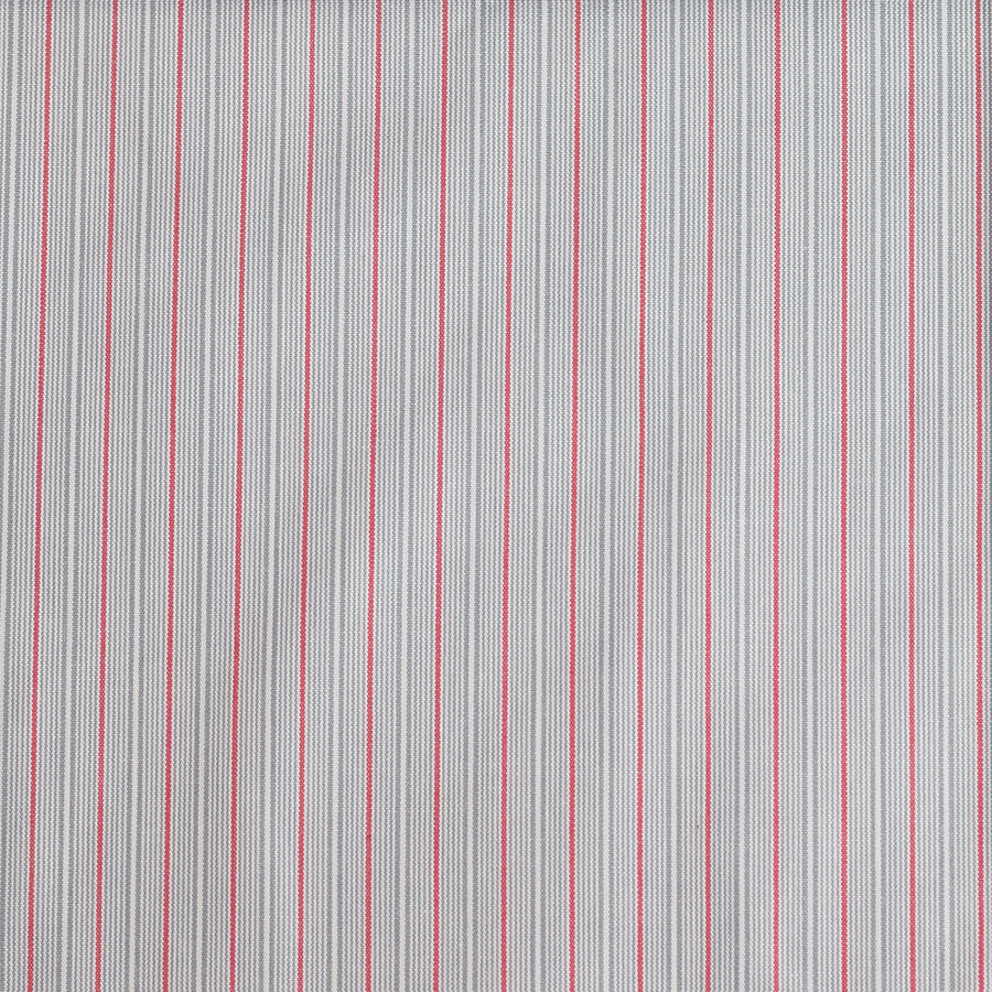 Grey / Red Stripe Cotton Poplin Fabric (FD076)