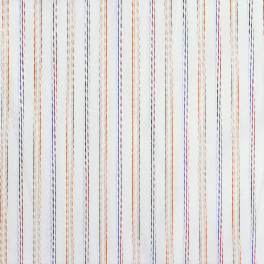 Blue / Brown / White Multi Stripe Cotton Poplin (FD075)