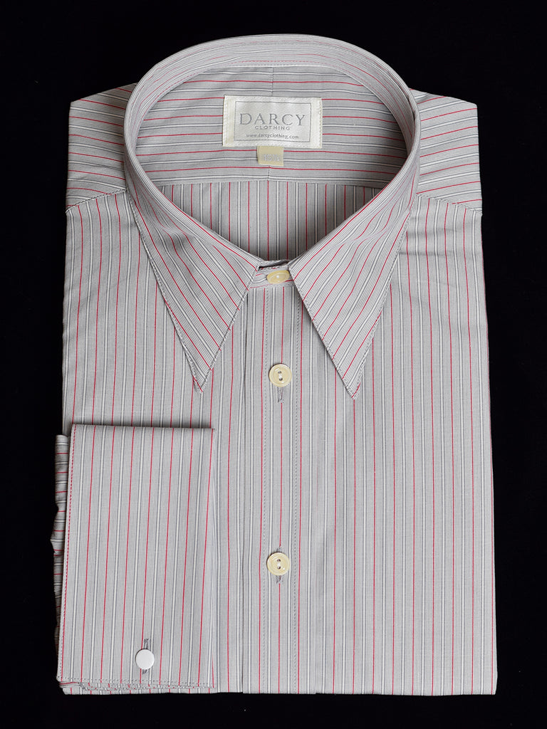 Replica Striped Fabric Spearpoint Collar Shirt | Permanent Stock (SH190R) - Colour 76 - Grey/Red Stripe