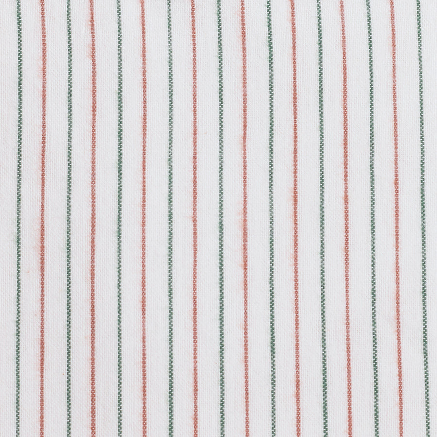 Green / Brown Stripe Brushed Cotton Fabric (FD046)