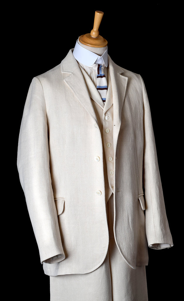 Heavyweight Ivory Herringbone Linen Jacket (JA922)