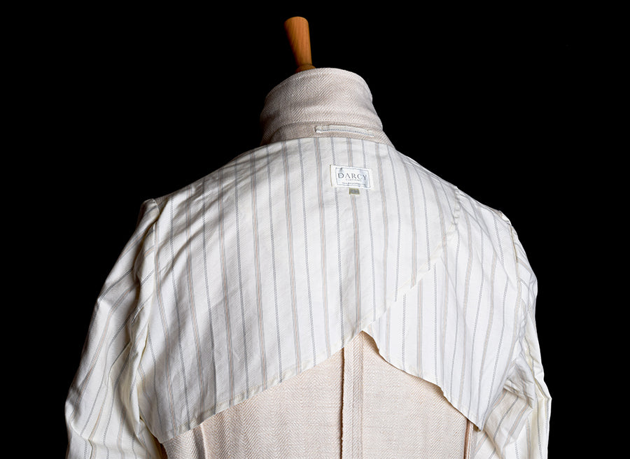 Heavyweight Ivory Herringbone Linen Jacket. Half lined (JA922)