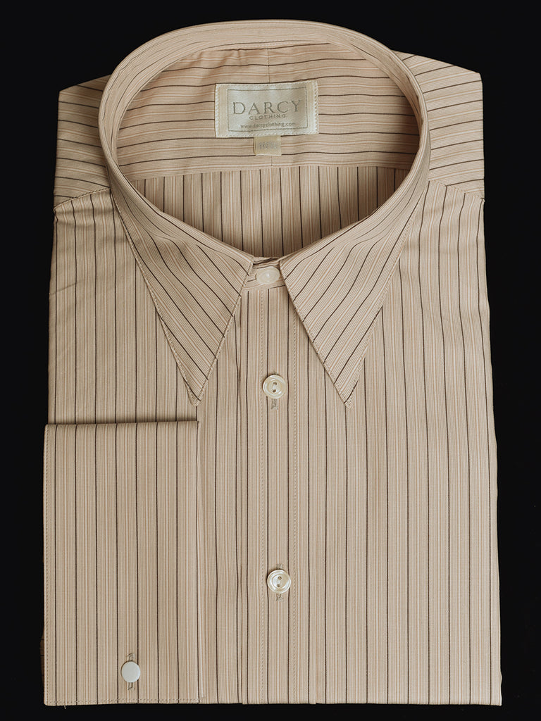 Replica Striped Fabric Spearpoint Collar Shirt | Permanent Stock (SH190R) - Colour 77 - Chocolate Stripe