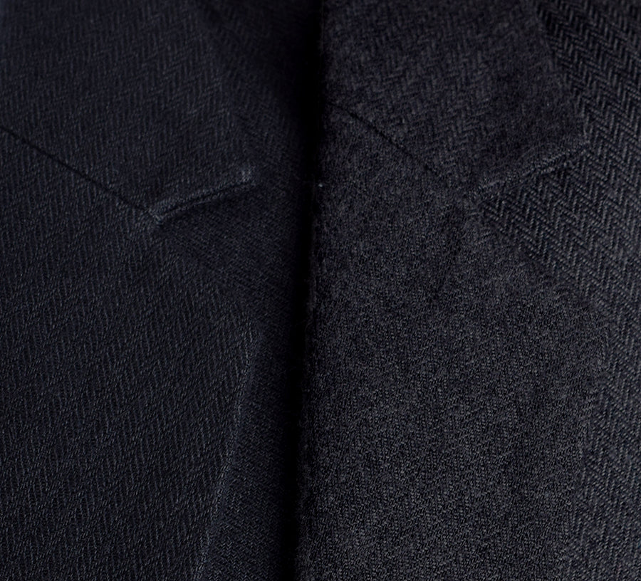 Ebony Black Brushed Cotton Herringbone Jacket (JA350)