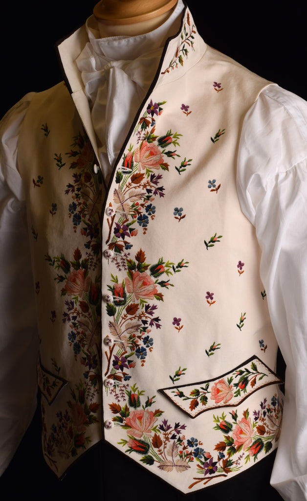 C18th Floral Waistcoat (WC220) - Summer Rose