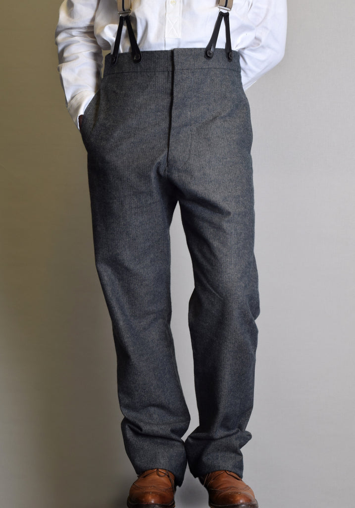 Grey Brushed Cotton Herringbone Fishtail Back Trousers (TR300)