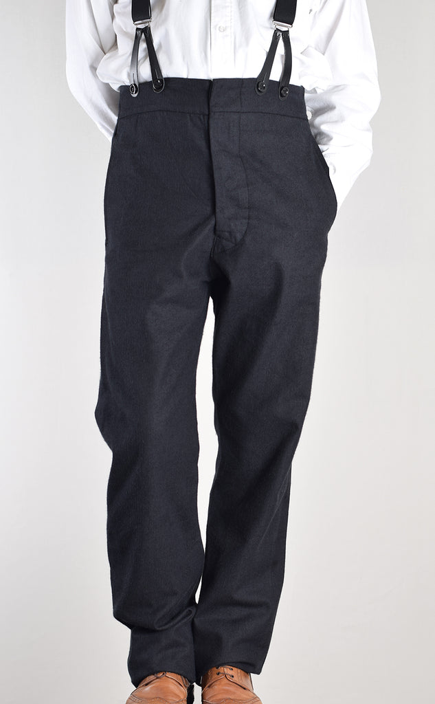 Ebony Black Brushed Cotton Herringbone Trousers (TR350)