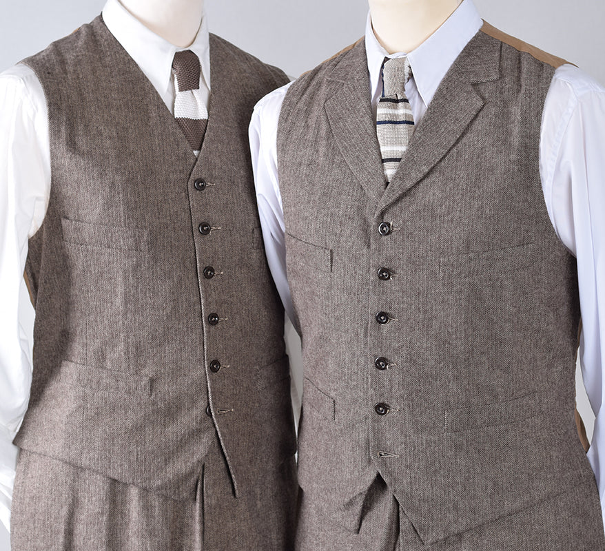 Brown Brushed Cotton Herringbone Waistcoat (WC400)