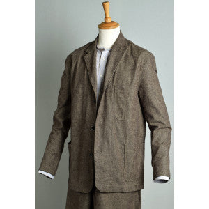 Brown Brushed Cotton Herringbone Jacket (JA400)