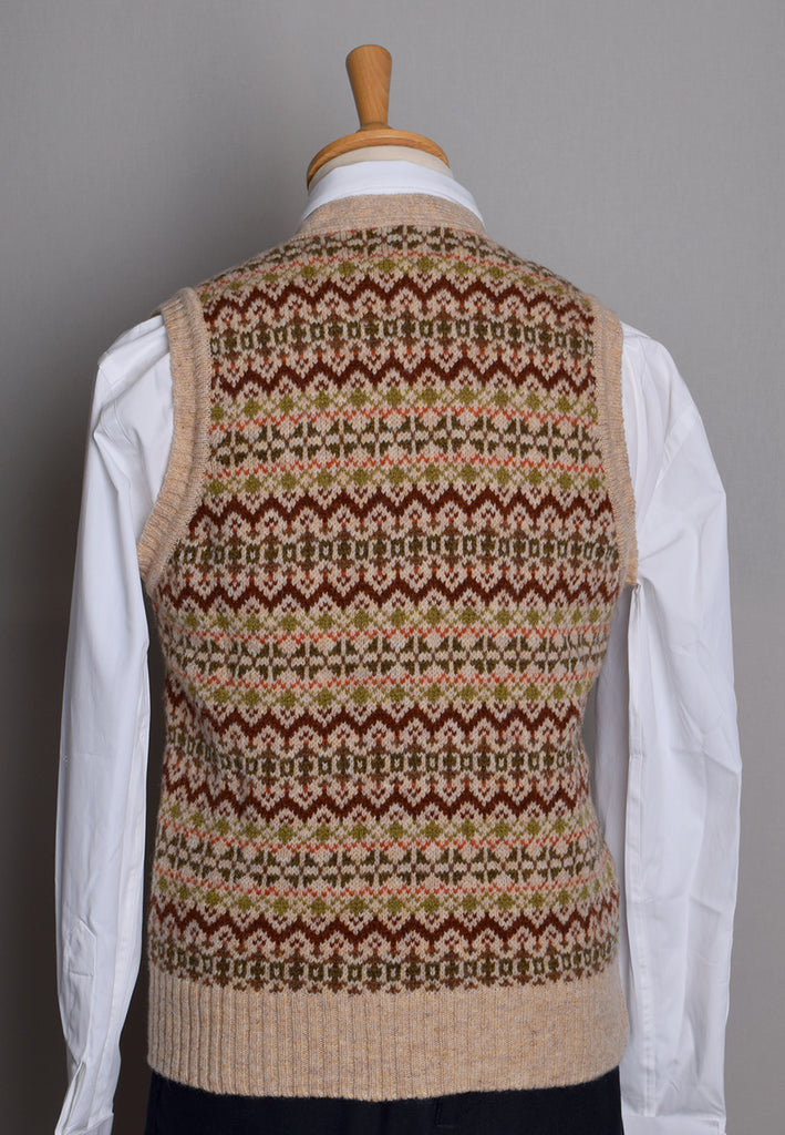 Button Through Fair Isle Waistcoat (KN150) - Tusk Brown