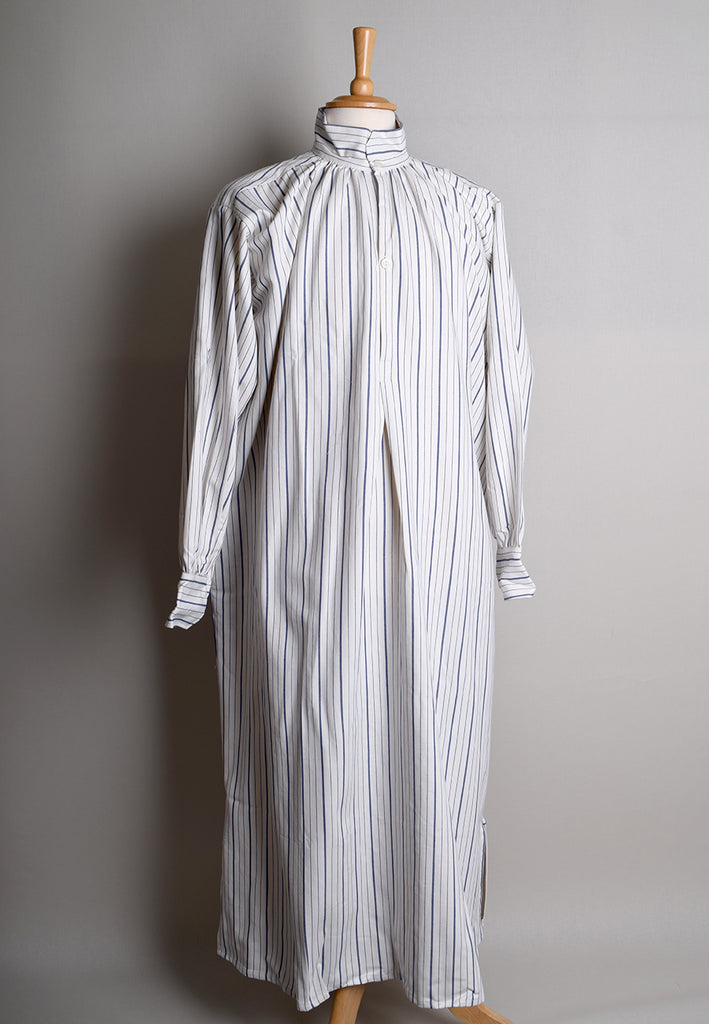 Victorian Nightshirt (NW400) - Blue/White Twill
