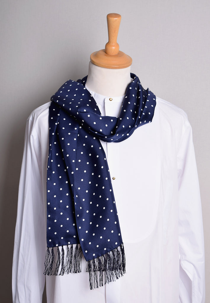 Spotted Silk Scarf (CR565) - Navy with White Spots
