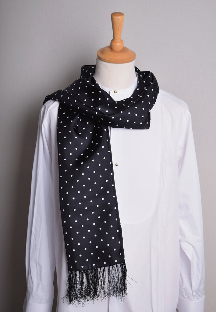 Spotted Silk Scarf (CR565) - Black with White Spots