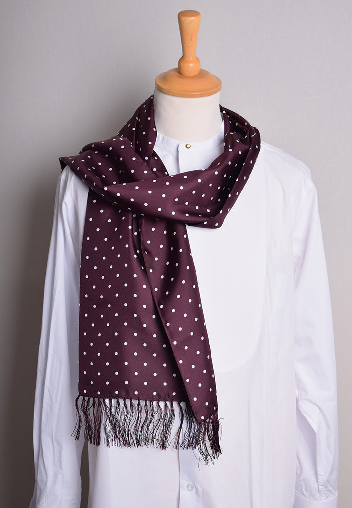 Spotted Silk Scarf (CR565) - Wine with White Spots