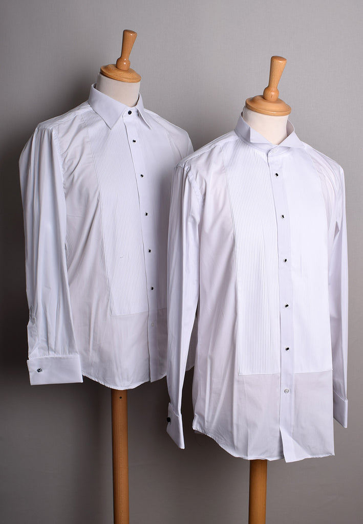 Pleated Front Evening Shirt - Wing or Turndown Collar (SH254)