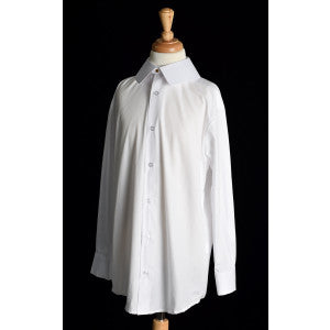 Boy's Collarless White Poplin Tunic Shirt (SH201) - With Eton Collar